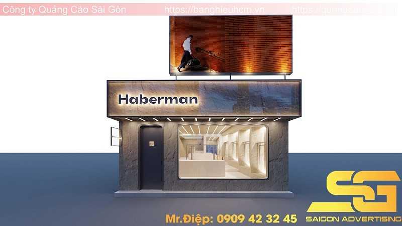 thi công bảng hiệu cửa hàng haberman tại quận 7