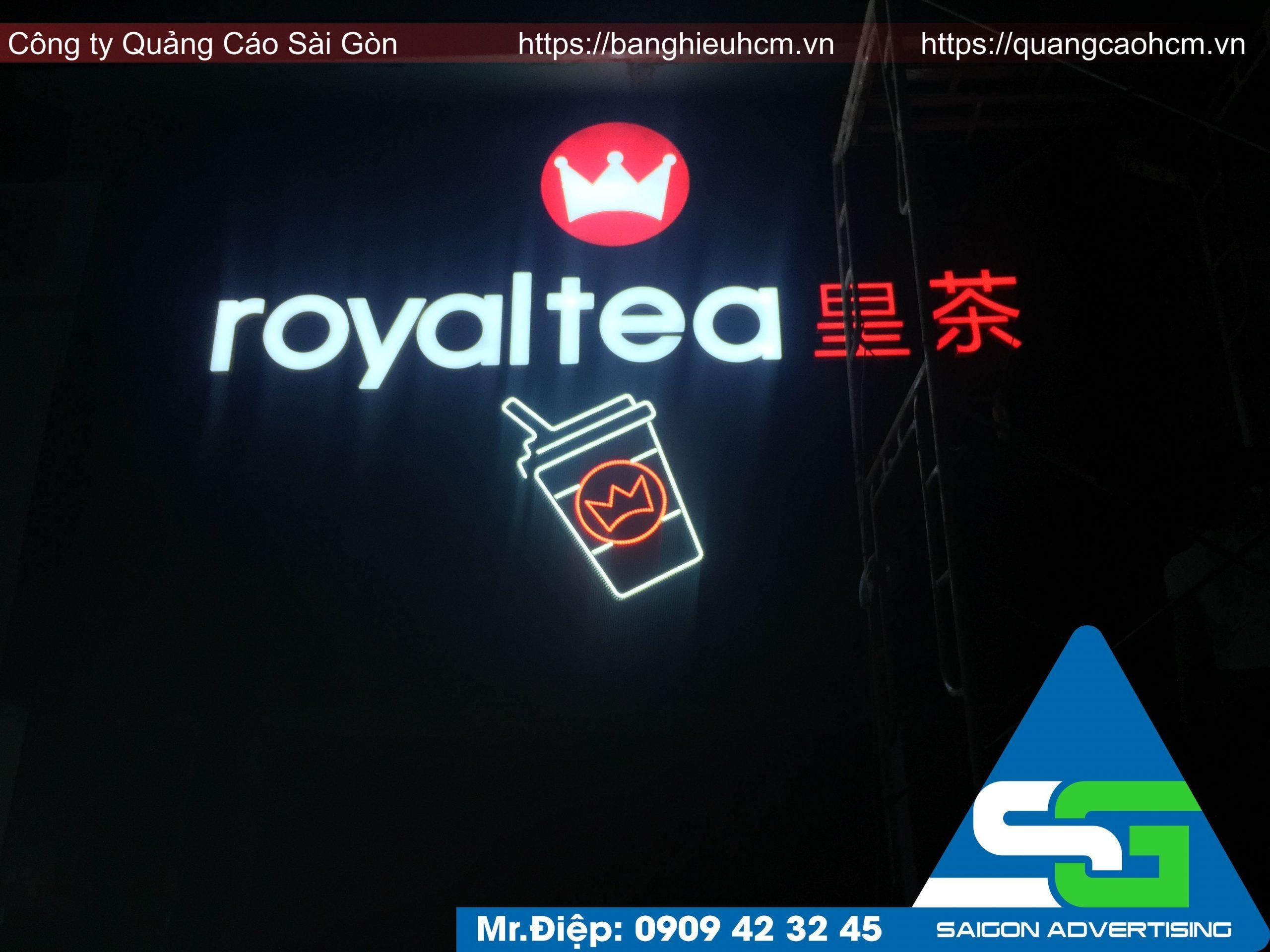làm bảng hiệu quán trà sữa royal