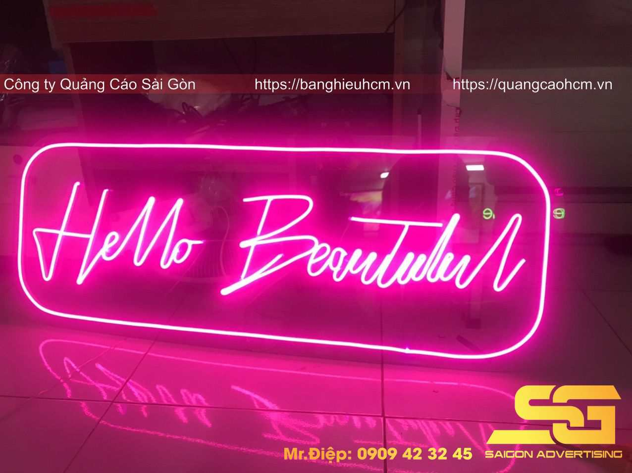 Bảng neon led Hello Beauty